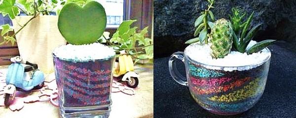 多肉植物とカラーサンドのコラボ☆緑のインテリア創作♪